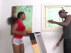 Hot ebony gets laid by her fitness coach