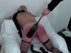 Blonde slut's red ass is spanked