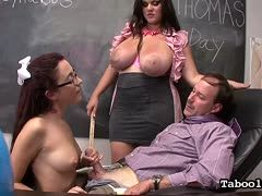 Angelina Castro and Roxanna Rae fuck their male teacher