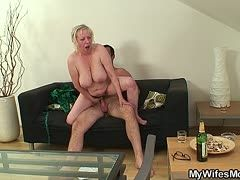 Fat blonde grandmother fucks young son-in law