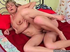 Sex-starved granny is banged by a young guy