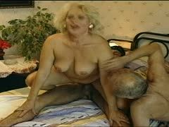 Young and old man fuck a horny granny