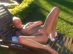 Naked blonde outdoors