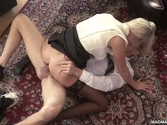 Sex-starved German blonde makes out on the floor