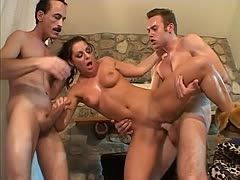 Hot babe anal fucked by two guys