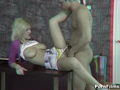 Blonde office slut is nailed on a desk