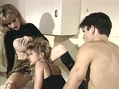 Craftsman gets a threesome with two mature blonde sluts
