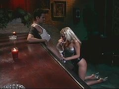 Hot blowjob at the bar