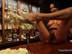 Anissa Kate kneads a cake with her sexy feet