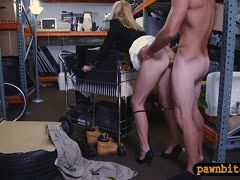 Blonde puts her skirt up to be fucked at the pawn