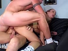 Hard anal threesome with amateur bitch