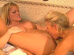 Two lesbians are dildoing their cunts