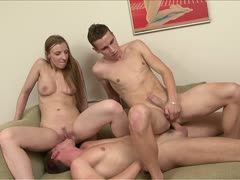 Hot slut in a gay threesome