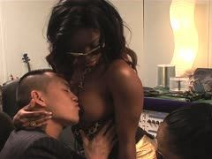 Asian guy fucks an ebony slut