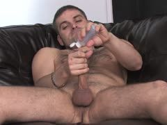 He jerks his oiled gay cock