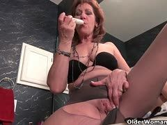 Horny old cunts in nylons have solo sex