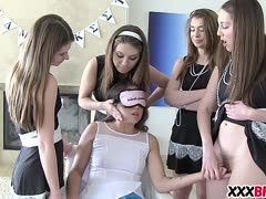 Blindfolded schoolgirl must realize the girl by kissing and licking