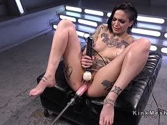Tattoo girl fucks herself with fingers, vibrator and sex machine