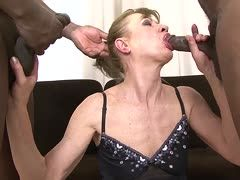 Blonde granny is double fucked by two bbc