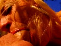 Blonde amateur milf enjoys blowjob and anal fucking outside