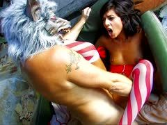 Guy with wolf mask fucks a horny anal slut pov