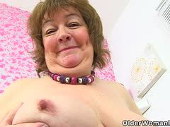 Ugly granny with saggies must satisfy herself