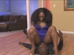 Black dominatrix canes her sex slave