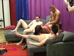 German porn casting ends in a hot foursome