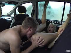 Sex in a car with hot blonde